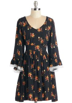 Through the Bluebells Dress in Bouquets. Your day off is dreamy as can be thanks to this vintage-inspired black dress from Bea  Dot - a ModCloth-exclusive! #black #modcloth