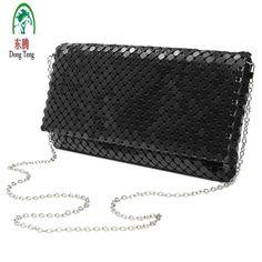 Women Evening Bag Day Clutches Aluminum Mesh  Bags Sequined Long  Handbags
