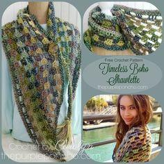 Timeless Boho Shawlette – Free Crochet Pattern by The Purple Poncho #crochet #shawl #scarf  #fashion  #grannystitch #thepurpleponcho