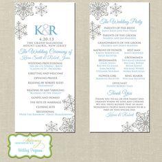 Elegant Snowflake Wedding Programs | Winter wedding programs | Personalized by DesignedByM.E.Stationery