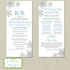 Elegant Snowflake Wedding Programs | Winter wedding programs | Personalized by DesignedByM.E.Stationery