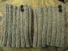 Gray Boot Toppers with Black Buttons