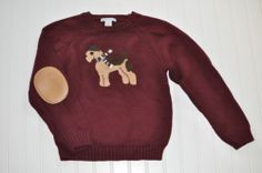 Janie And Jack Boys Tartan Terrier Dog Sweater Size 6 EUC Holiday Handsome!!