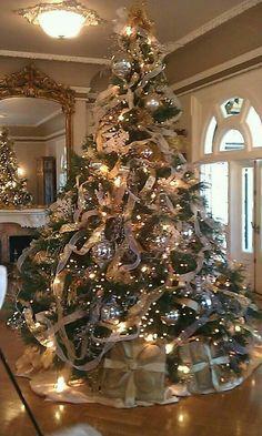 Christmas · Elegant Christmas TreesBurlap Christmas TreeDecorated ...