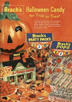 Festive fun, cheerfully orange vintage ad for Brach's Halloween candy. #candy #ad #vintage #candy_corn #lollipops #mints #jelly_beans #pumpkin #food #decor