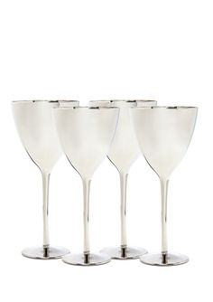 Euro Ceramica Mercury platinum white wine glasses