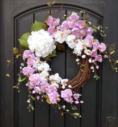Spring Wreath-Summer Wreath-Grapevine Door Wreath Decor-Lavender-White Wispy Branches-Artificial Florals-White Hydrangea-Indoor/Outdoor by AnExtraordinaryGift on Etsy Christmas Yarn Wreaths, Easter Wreaths, Holiday Wreaths, Prim Christmas, Vine Wreath, Summer Wreath, Spring Wreaths, Wreath Tutorial, Wreath Crafts