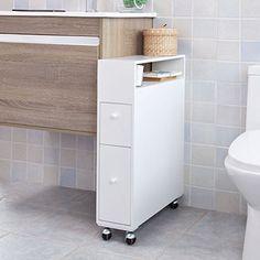 59,95 - 16cm - perte de place avec l'espace balais de derrière mais intéressant car tiroirs hauts. SoBuy FRG51-W Meuble de rangement à roulettes WC, Porte-papier toilettes, Porte brosse WC, Armoire roulante avec 2 tiroirs -Blanc SoBuy http://www.amazon.fr/dp/B00UMVMO4C/ref=cm_sw_r_pi_dp_Chnnvb0YHP43Y