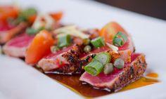Thats look yummy Seared Tuna, Looks Yummy, Menu, Restaurant, Fish, Menu Board Design, Diner Restaurant, Pisces, Restaurants