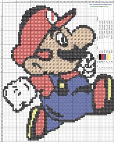 Mario cross stitch pattern. <3