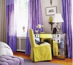 The Main Color Of This Room Is Purple With Accents Its Complementary Yellow