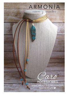 Collar ajustable metalico dorado pluma en by CaroAccessories