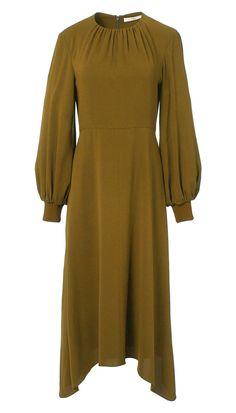 66a1559fe86af Tibi - Savanna Crepe Shirred Neck Midi Dress Tibi Dresses