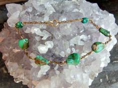 """Gold Fill Bracelet with Turquoise Nuggets, Deep Green Nuggets with Double Woven Chain in Between, 7 1/4"""" Wearable Length, Spring Ring Close by postGingerbread on Etsy"""