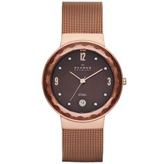 Skagen Watch, Women's Rose Gold-Tone Stainless Steel Mesh Bracelet... (100 CAD) ❤ liked on Polyvore featuring jewelry, watches, no color, stainless steel wrist watch, rose gold tone jewelry, stainless steel watches, mesh jewelry and stainless steel jewellery