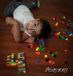 Four year old boy photoshoot with Legos.