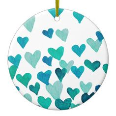 Valentines Day Watercolor Hearts  turquoise Ceramic Ornament - home gifts ideas decor special unique custom individual customized individualized