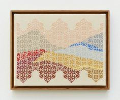 From Anat Ebgi, Jordan Nassar, And the sea drowning the sea Hand embroidered cotton on cotton on canvas, 11 × 14 in Contemporary Embroidery, Modern Embroidery, Embroidery Patterns, Cross Stitch Art, Cross Stitch Patterns, Textile Artists, Art Forms, Blackwork, Female Art
