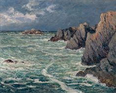 Domois Shore Belle Ile En Mer Acrylic Print by Maufra Maxime. All acrylic prints are professionally printed, packaged, and shipped within 3 - 4 business days and delivered ready-to-hang on your wall. Bangor, Seascape Paintings, Landscape Paintings, Landscapes, Art Database, The Dunes, Great Artists, Artwork, Art Gallery