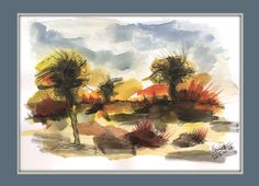 End of summer - watercolor painting