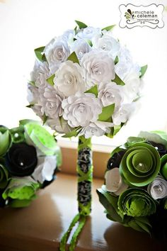 Paper rose bouquets/pomander for wedding  DEPOSIT by stacidavis3, $100.00  LOVE THESE!!!