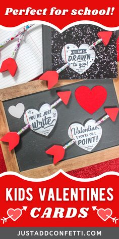 Get ready for Valentine's Day with these cute Valentine's Day printables. Perfect kids valentines for school and Valentine's Day classroom parties. These DIY printable notebook heart valentine cards come in three wording options. They are available in my Just Add Confetti Etsy shop. Just pair them with a pencil arrow for an adorable non-candy, non-food valentine gift! Also, be sure to head to justaddconfetti.com for even more cute and simple kids valentines and party ideas.
