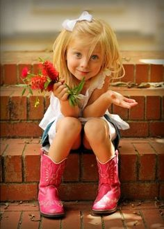 I picked these just for you, momma. So cute!  (And love those pink cowboy boots!) #cute #littlecowgirl