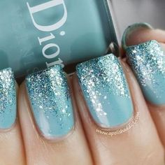 Blue Ombre Glitter nail art design ~ Dior: Saint Tropez (is a vibrant turquoise creme) with Nails Inc. Hammersmith glitter on the tips. ***I wonder if this is how Elsa's nails look? Love Nails, How To Do Nails, Fun Nails, Sparkle Nails, Gradient Nails, How To Ombre Nails, New Year's Nails, Nails Inc, Do It Yourself Nails