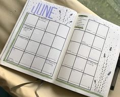 """This is my June month at a glance! I like to make the boxes big enough to write a bunch in and I also incorporate my tracker into this spread by coloring dots that correspond with the habits into the boxes. June is a super busy month for me so it's nice to keep everything organized!"" —rheannam2"