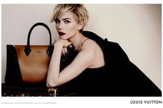 Michelle Williams Louis Vuitton - Obsessed. This makes me want to go buy a burgundy lip crayon from Sephora RIGHT NOW.