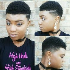 Regardez cette photo Instagram de @kinky_chicks1 • 1,486 mentions J'aime Natural Hair Styles For Black Women, Natural Short Cuts, Natural Hair Cuts, Natural Hairstyles, Short Hair Cuts, Natural Styles, Tapered Hair, Tapered Twa, Short Hair Undercut