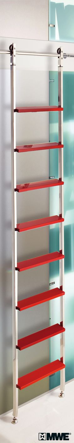 Wow! Colourful :)   AKZENT library ladder with sliding function and telescopic hardware.  www.mwe.de/en