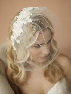 Double Flower Lace Applique on Handmade Tulle Birdcage Blusher Veil