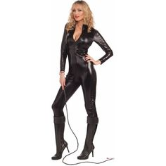 Sleek N' Sexy Bodysuit Adult Costume (27 AUD) ❤ liked on Polyvore featuring costumes, halloween costumes, sexy super hero costumes, sexy costumes, leather costumes, white costumes and white slip