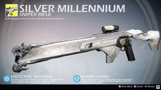 Silver Millennium (Exotic Sniper Rifle Concept) by on DeviantArt Anime Weapons, Sci Fi Weapons, Weapon Concept Art, Fantasy Weapons, Weapons Guns, Sci Fi Fantasy, Fantasy Armor, Destiny Video Game, Destiny Comic