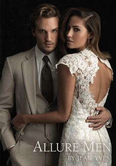 Tan Allure Men by Jean Yves that you can get right next door at Tuxedo Source paired with our beautiful lace Allure gown!