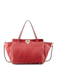Red Valentino Rockstud Medium Tote Bag, Red, Size: M
