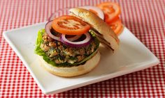 A tasty meat-free burger packed with protein. Uk Recipes, Veggie Recipes, Lunch Recipes, Healthy Recipes, Healthy Lunches, Diabetic Recipes, Healthy Food, Healthy Eating, Veggie Meal Plan
