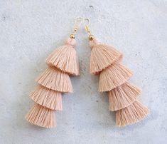 Handmade Light Brown Four Tier Tassel Earrings