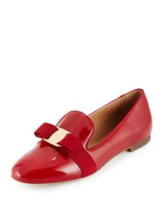 Scotty Patent Bow Loafer, Red (Rosso) by Salvatore Ferragamo at Neiman Marcus.