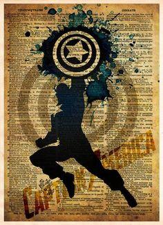 Avengers, Captain America, Vintage Silhouette print, Super Hero Art, Dictionary print art -  - 1