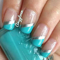 Turquoise / Tiffany blue diagonal tips (Essie - Where's my Chauffeur) Instagram photo by @amyytran via ink361.com
