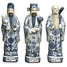 Blue & White Porcelain Three Lucky Gods
