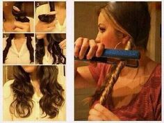 This picture shoes hoe to step by step get loose curls or waves by twisting your hair and using a straightener to go over it. This is useful because now I know how to curl my hair by this effortless technique.