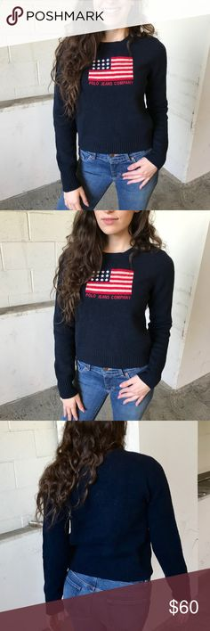 Polo Ralph Lauren flag sweater A timeless navy blue American flag sweater by Ralph Lauren Polo Jeans Co. Quality you would expect from Ralph Lauren. Vintage feel, 100% lambswool. Great for the coming cold weather! Very well taken care of, worn only a few times. Tag size is medium, but best fits a size small! 🍂☕️ Ralph Lauren Sweaters