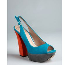 Vince Camuto turquoise suede 'Mazin' colorblock slingback sandals