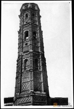 Muniesa (Teruel). Iglesia parroquial. Torre mudéjar octogonal.. José Galiay Sarañana 1.3. Fecha(s) 1900-1952 DARA :: Detalle de Registro