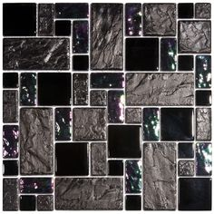 EliteTile Eden Random Sized Glass & Stone Mosaic Tile in Iris