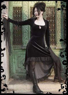 Circee Gothic Dress in Velvet with Dramatic Cuffs - Custom Dark Romantic Gothic Clothing