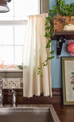 Far Above Rubies: Muslin and lace sink skirt and cafe curtains
